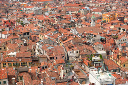 View of red Venice rooftops from above photo