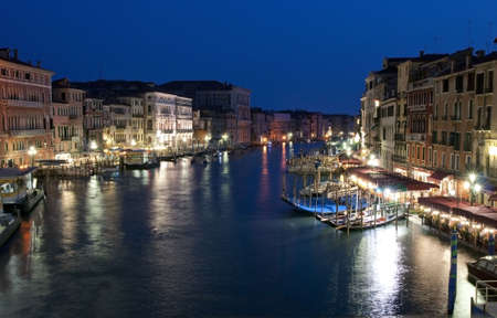 The Grand Canal in Venice at night Stock Photo
