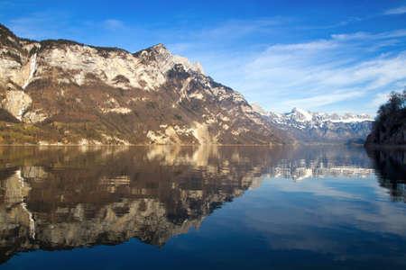 st  gallen: Suiza - Walensee Lago nr St. Gallen Foto de archivo