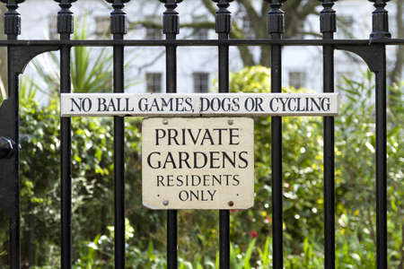 Private Gardens Sign outlawing ball games, dogs and cycles.