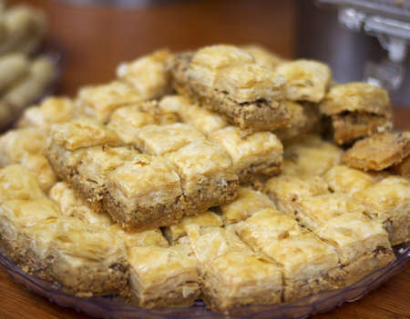 Tray of Baklava with a narrow depth of field photo