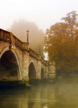 Richmond Bridge in Autumn with mist