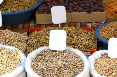 Variety of nuts for sale in Istanbul market