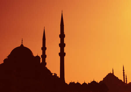 Istanbul Sunset with Mosque and Minarettes  photo