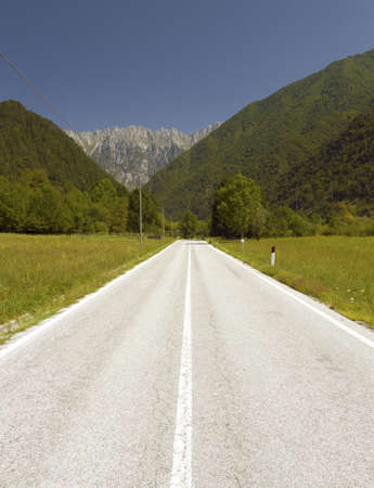 non marking: Alpine empty road in the Alps in Europe