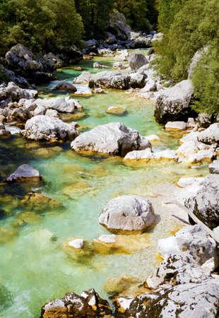 Alpine mountain stream in Slovenia, Europe