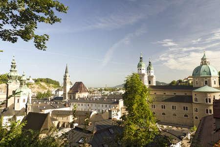 Austria  Salzburg panorama at dawn Stock Photo