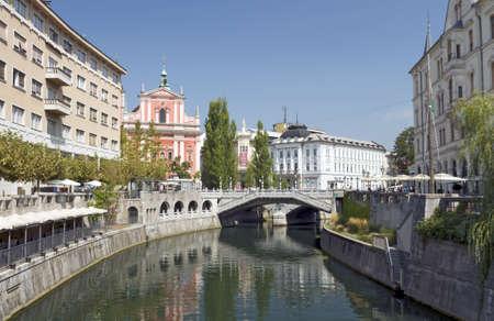 ljubljana: The Franciscan Church of the Annunciation, Triple Bridge, Ljubljana, Slovenia