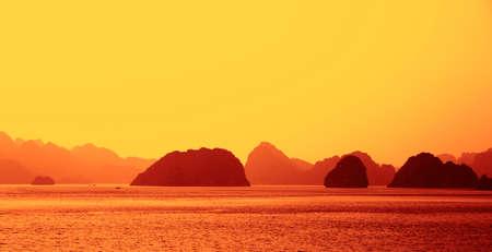 halong: Ha Long Bay at sunset in Vietnam
