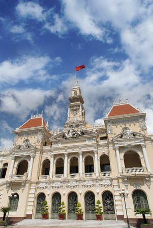 vietnam flag: City Hall of Ho Chi Minh in Ho Chi Minh City, Vietnam