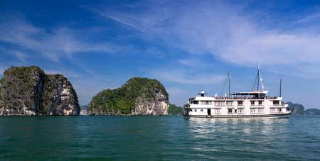 halong: Junk boat cruise liner in Ha Long Bay Vietnam