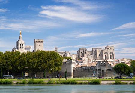 avignon: Avignon Cityscape as seen from the Rhone Stock Photo