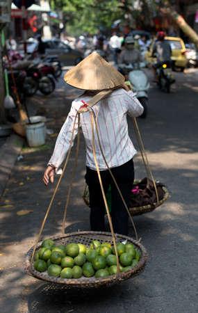 street vendor: A Typical Street Vendor in Hanoi Vietnam