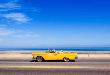 HAVANA,CUBA - NOVEMBER 9, 2015 : Vintage american car at the Malecon avenue Editorial