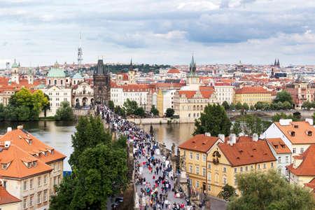 Prague, Czech Republic - June 19, 2015: Charles Bridge from above in Prague, Czech Republic