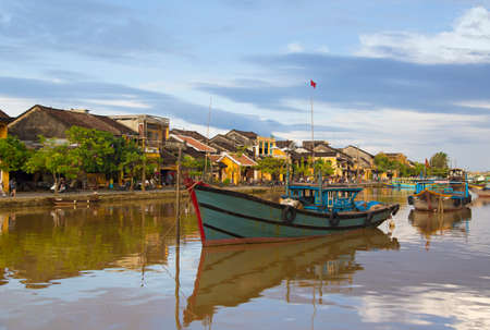 Hoi An riverside and boat in Vietnam Stock Photo