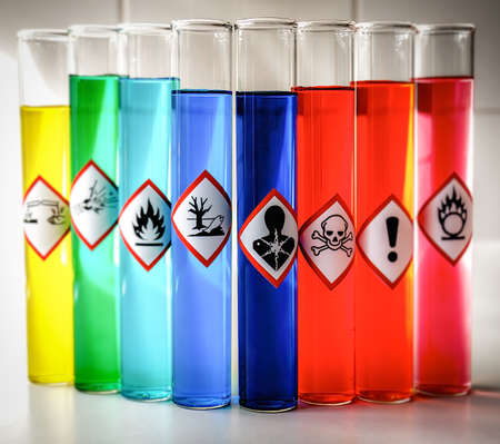 oxidising: Aligned Chemical Danger pictograms - Serious Health Hazard Stock Photo