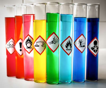 oxidising: Aligned Chemical Danger pictograms - Explosive Stock Photo