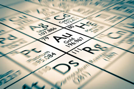 analytical chemistry: A illustration of one magic chemical elements from the Mendeleev periodic table: king gold !
