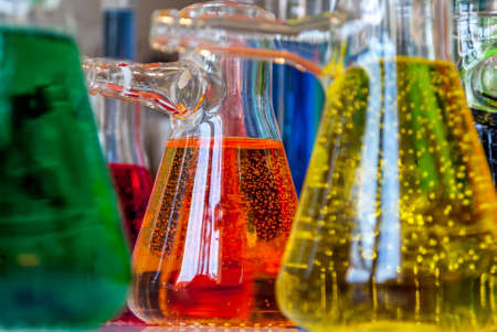 titration: Chemical bubbles Stock Photo