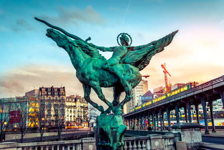 bir: View on beautiful Paris bridge near Eiffel Tower: Bir Hakeim !