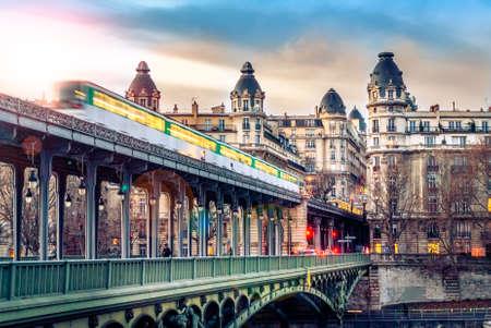 View on beautiful Paris bridge near Eiffel Tower: Bir Hakeim !