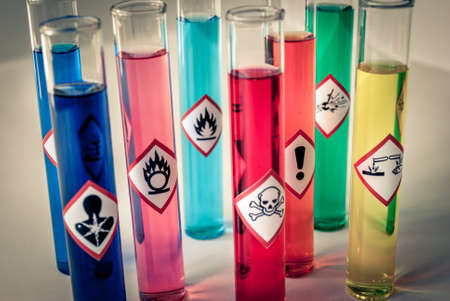 Chemical hazard pictograms desaturated Stock Photo