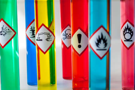 chemical hazard: Chemical hazard pictograms Health Hazard focus Stock Photo