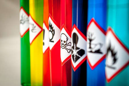 chemical hazard: Chemical hazard pictograms Toxic focus Stock Photo