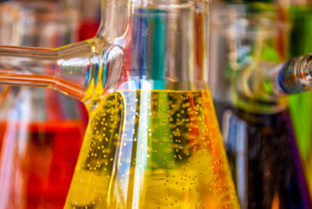 titration: Colored solutions with bubbles in glassware are meaningful for science, chemistry and environment or chemical industry !