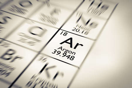 mendeleev: Focus on Argon chemical Element from the Mendeleev periodic table Stock Photo