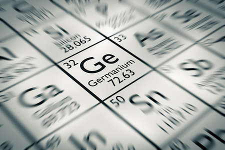 isotopes: Focus on Germanium Chemical Element from the Mendeleev periodic table Stock Photo