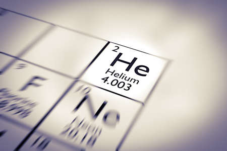 mendeleev: Focus on Helium Chemical Element from the Mendeleev periodic table Stock Photo