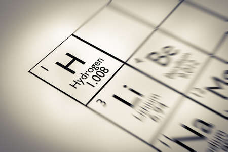 mendeleev: Focus on Hydrogen Chemical Element from the Mendeleev periodic table Stock Photo