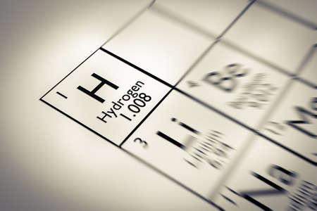 Focus sur l'hydrogène chimique Élément de la table périodique de Mendeleïev