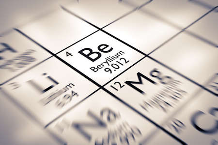 mendeleev: Focus on Beryllium Chemical Element from the Mendeleev Periodic Table Stock Photo