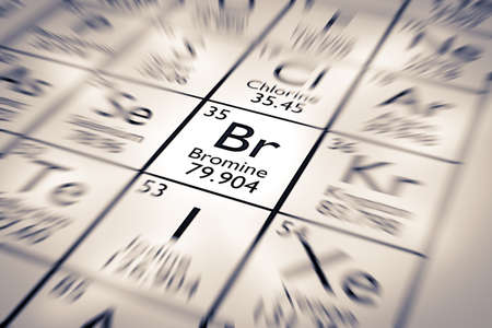 mendeleev: Focus on Bromine Chemical Element from the Mendeleev Periodic Table