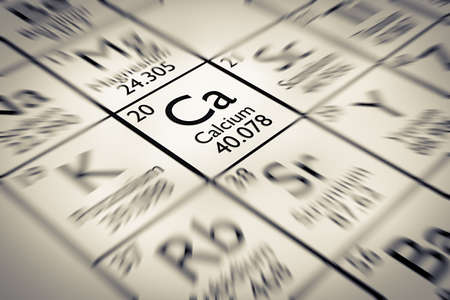 mendeleev: Focus on Calcium Chemical Element from the Mendeleev periodic table Stock Photo