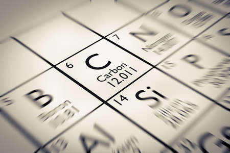 mendeleev: Focus on Carbon Chemical Element from the Mendeleev periodic table Stock Photo