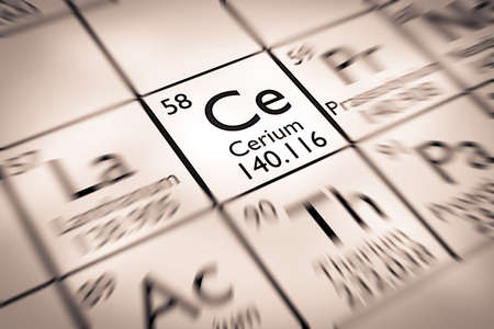 mendeleev: Focus on Cerium chemical Element from the Mendeleev periodic table