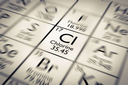 mendeleev: Focus on Chlorine Chemical Element from the Mendeleev periodic table Stock Photo