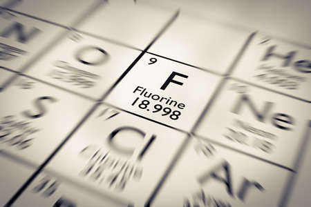 Focus on Fluorine Chemical Element from the Mendeleev periodic table