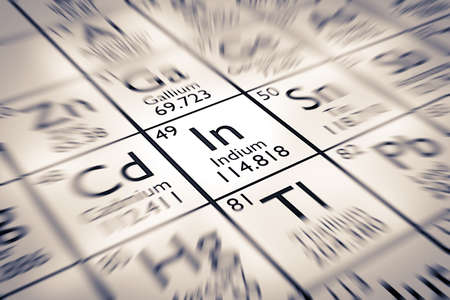 mendeleev: Focus on Indium Chemical Element from the Mendeleev Periodic Table Stock Photo