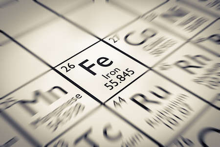mendeleev: Focus on Iron Chemical Element from the Mendeleev periodic table