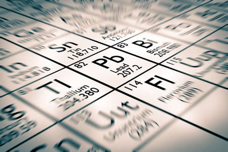 mendeleev: Focus on lead chemical element Stock Photo