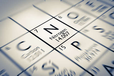 Focus on Nitrogen Chemical Element from the Mendeleev periodic table Stock Photo
