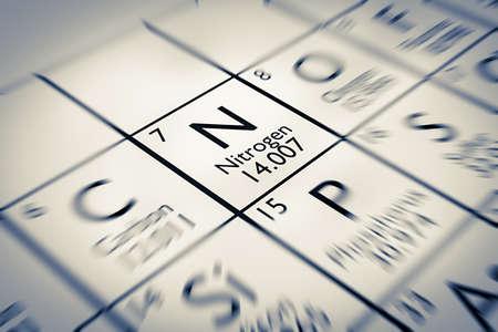 nitrogen: Focus on Nitrogen Chemical Element from the Mendeleev periodic table Stock Photo