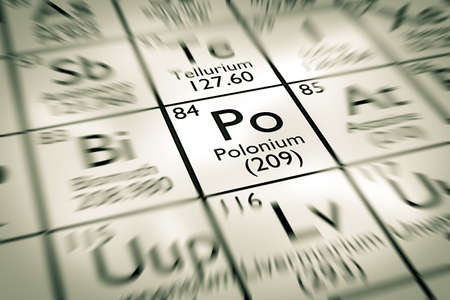 atomic: Focus on Polonium chemical element from the Mendeleev periodic table Stock Photo