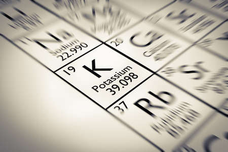 mendeleev: Focus on Potassium Chemical Element from the Mendeleev periodic table Stock Photo
