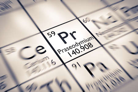 mendeleev: Focus on Praseodymium Chemical Element from the Mendeleev Periodic Table